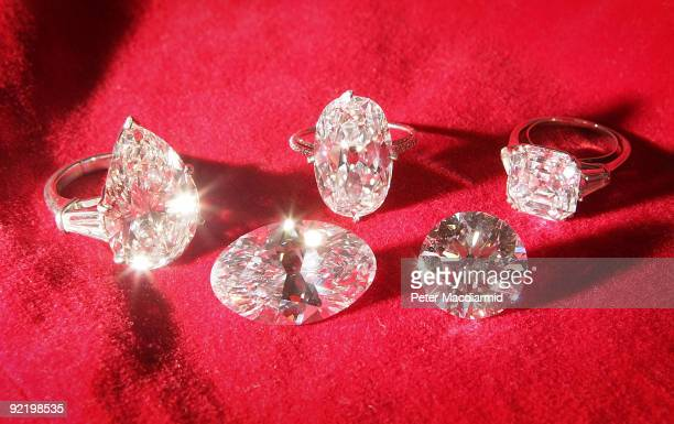 Collection of rare diamonds is displayed at Sotheby's on October 22, 2009 in London, England. This collection, including a rare 30.48 carats oval...