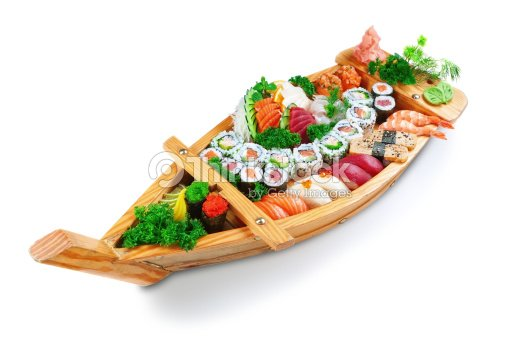 Collection Of Species Sushi On The Decorative Plate Ship Stock Photo