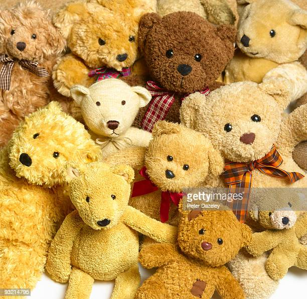 Collection of teddy bears.