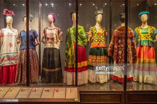 Collection of the artist's clothes inside the Casa Azul or Blue House in Mexico City the museum dedicated to artist Frida Kahlo on January 17 2019 in...