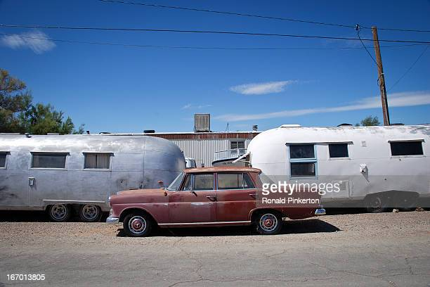 Collection of tired but serviceable vehicles in remote Keeler, California