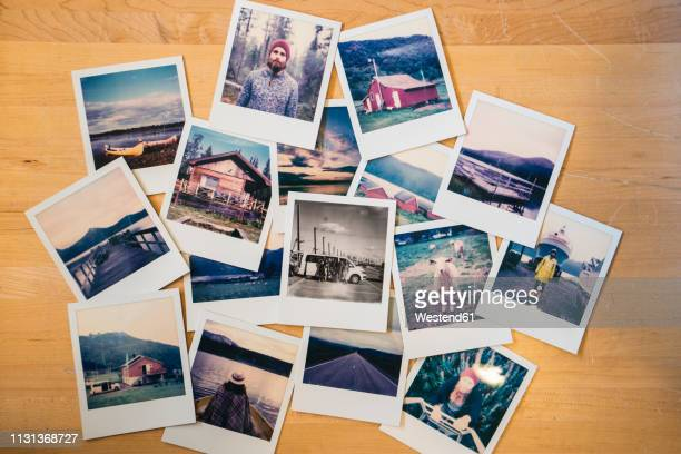 collection of travel instant photos - ricordi foto e immagini stock