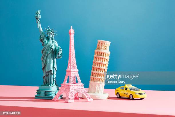 a collection of travel souvenirs - small group of objects stock pictures, royalty-free photos & images