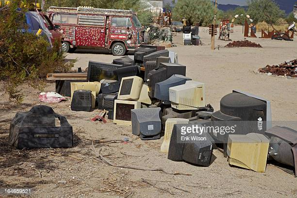 Collection of TVs and computer monitors make a statement in an art installation found in Slab City, near Niland, just south of the Salton Sea.