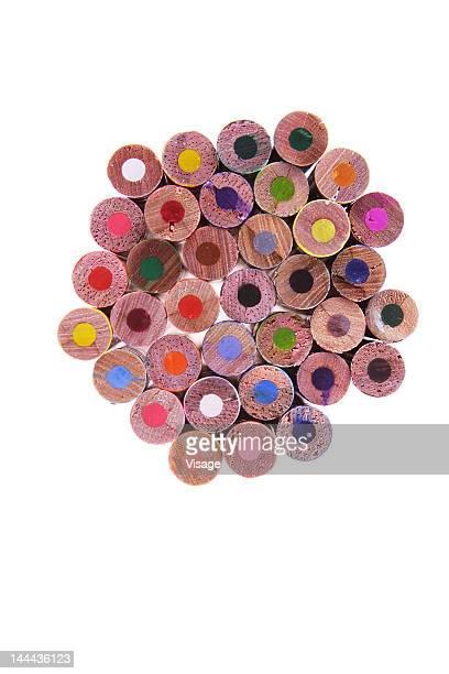 collection of unused colouring pencils - colouring bildbanksfoton och bilder