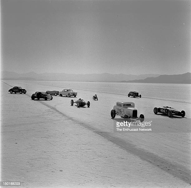 A collection of various classes including Lakester Modified Roadster and Roadster classes populate the barren salt flats in anticipation of a their...