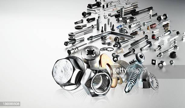 collection of various hardware fasteners  - fastening stock pictures, royalty-free photos & images