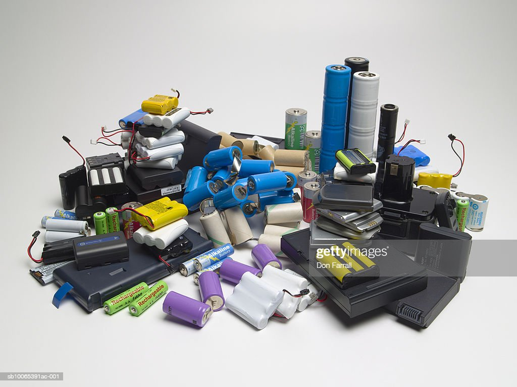 Collection of various rechargeable cells : Foto stock