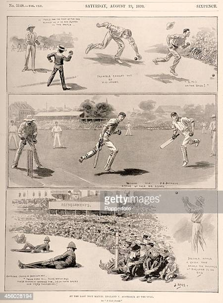A collection of vintage illustrations featuring the final Test Match between England and Australia at the Kennington Oval in London circa August 1899...