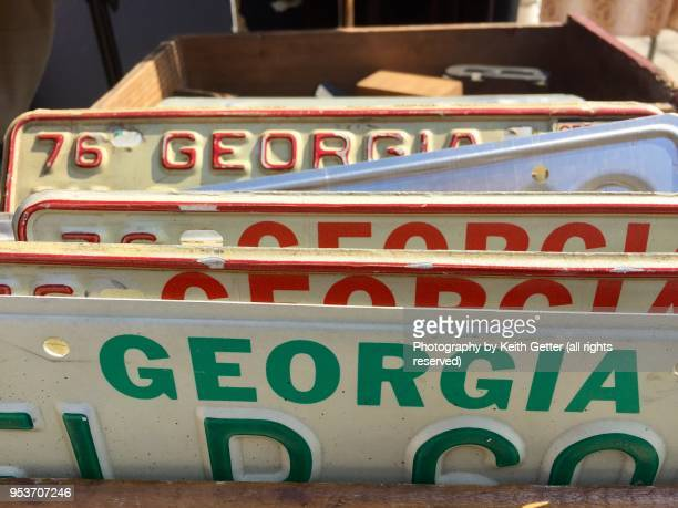 A collection of vintage license plates from Georgia USA