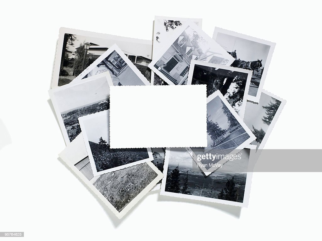 collection of vintage photos with blank in front : Bildbanksbilder