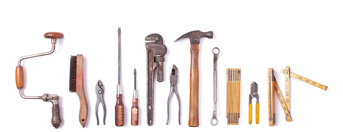 Collection of vintage work tools isolated 1126034433