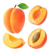 Collection of whole and cut apricots isolated on white