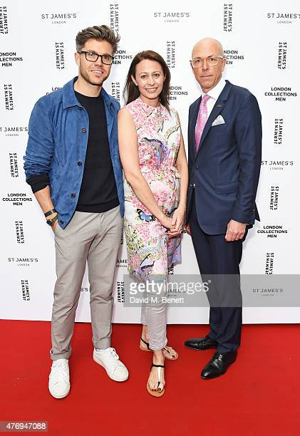 Collection Stylist Darren Kennedy British Fashion Council CEO Caroline Rush and British GQ editor Dylan Jones attend the Jermyn Street St James's...