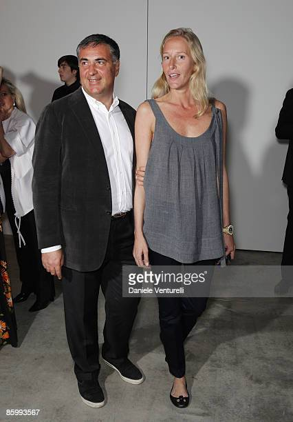 collector Renato Preti and Georgiana Ravizza attend the Michal Helfman opening exhibition at the Cardi Black Box on April 15 2009 in Milan 2009