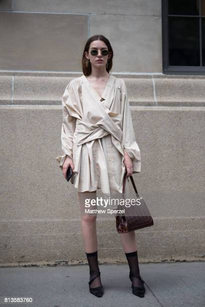 Colleen Allen is seen attending Deveaux at EN Japanese Brasserie during Men's New York Fashion Week wearing her own designs on July 12 2017 in New...