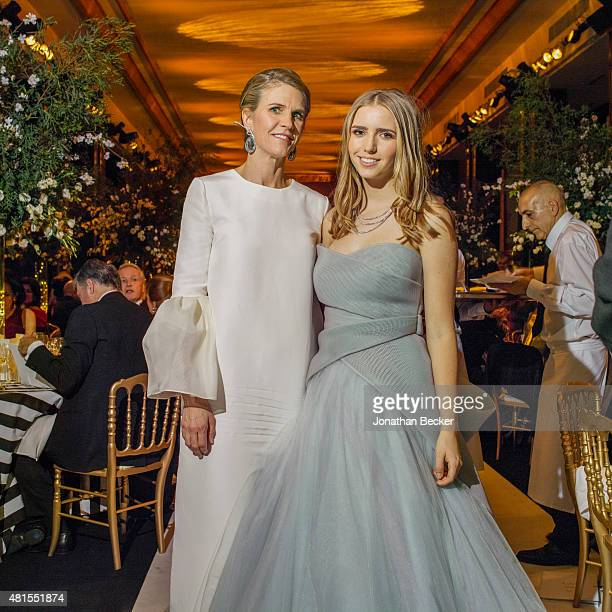 Colleen Bell and daughter Caroline Bell are photographed for Vanity Fair Magazine on November 28 2014 at the 2014 Bal des Debutantes at the Palais de...