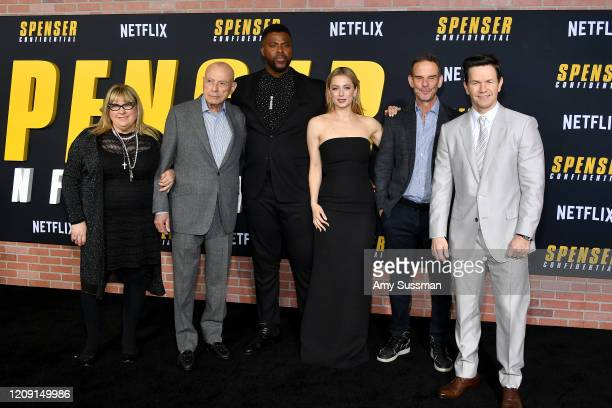 Colleen Camp Alan Arkin Winston Duke Iliza Shlesinger Peter Berg and Mark Wahlberg attend the Premiere of Netflix's Spenser Confidential at Regency...