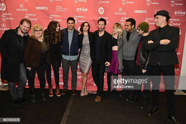 Colleen Camp Lorenza Izzo Eli Roth Ana de Armas Keanu Reeves Aaron Burns and Antonio Quercia attend the 'Knock Knock' Premiere 2015 Sundance Film...