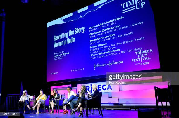 Colleen DeCourcy Amy Emmerich Pam Wasserstein Nina Shaw Amani AlKhatahtbeh and Joanna Coles speak onstage at 'Time's Up' during the 2018 Tribeca Film...