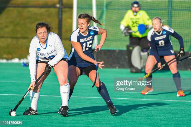Colleen Francis of Franklin Marshall looks for an open teammate during the Division III Women's Field Hockey Championship held at Spooky Nook Sports...