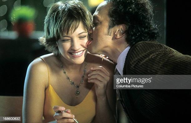 Colleen Haskell is licked by Rob Schneider in scene from the film 'The Animal' 2001
