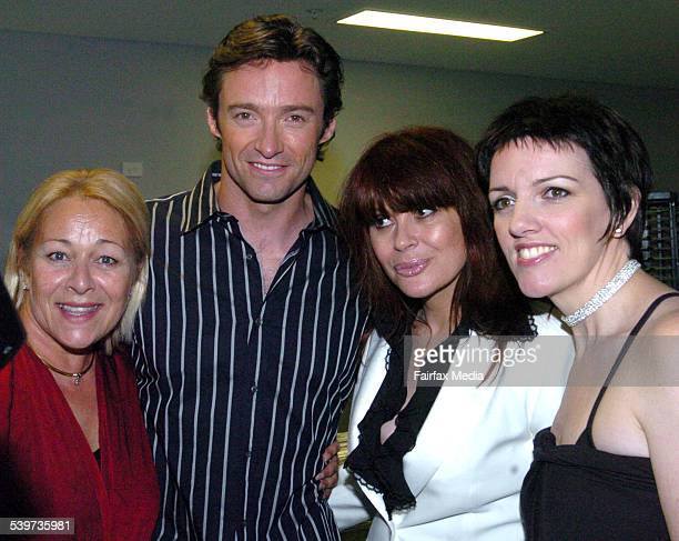 Colleen Hewett, Hugh Jackman, Chrissy Amphlett and Angela Toohey at 'The Boy From Oz' showcase, Hilton Hotel, 13 February 2006. SHD Picture by JANIE...