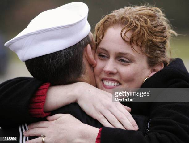 Colleen Mathias welcomes home her husband Petty Officer Mike Mathias when his ship the USS Portland returned from the Iraqi theatre to her home port...