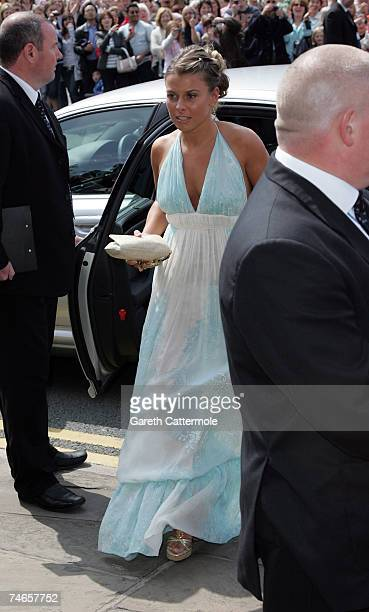 Colleen McLoughlin arrives at Manchester Cathedral for the wedding of Manchester United and England footballer Gary Neville and Emma Hadfield on June...
