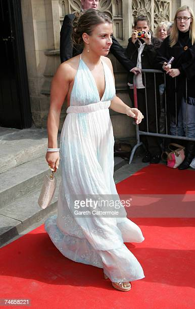 Colleen McLoughlin leaves Manchester Cathedral after the wedding of footballer Gary Neville and Emma Hadfield on June 16 2007 in Manchester England
