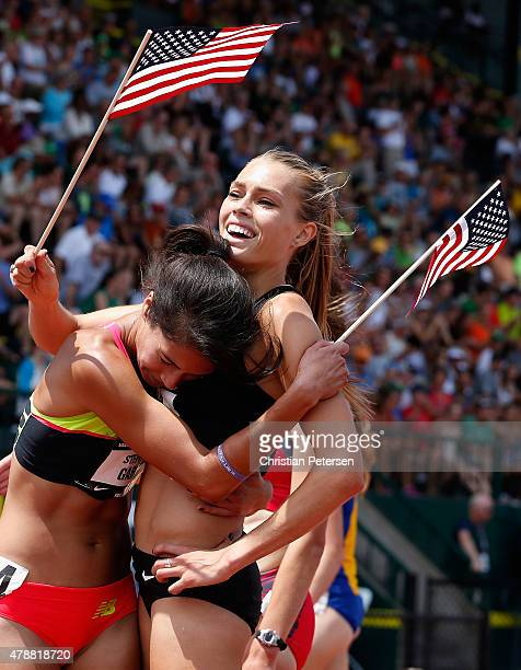 Colleen Quigley and Stephanie Garcia celebrate together after winning in the Women's 3000 Meter Steeplechase final during day three of the 2015 USA...