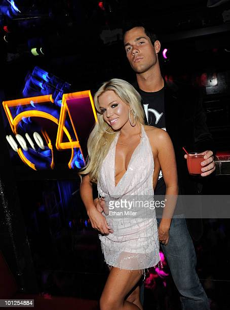 Colleen Shannon and Garrett Szalkowski appear at the official Silver Star Casting Co and UFC magazine preparty for UFC 114 at Studio 54 inside the...
