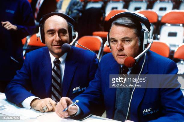 College Basketball 1/28/87 ABC Sports commentators Dick Vitale and Keith Jackson at the Kentucky vs US Navy Men's College Basketball game DICK