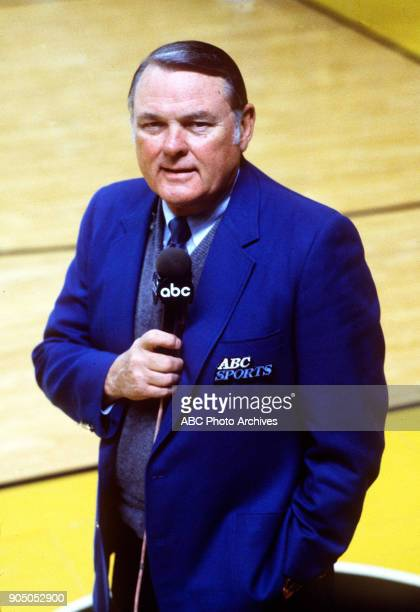 College Basketball 2/10/87 ABC Sports commentator Keith Jackson at the Purdue vs Louisville Men's Basketball game KEITH