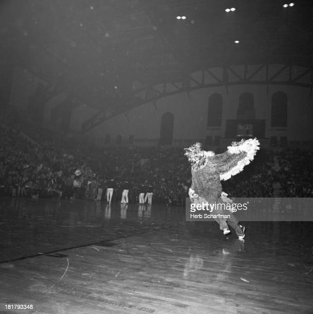 5th Quaker City Tournament Saint Joseph's mascot The Hawk on court during game vs Minnesota at The Palestra Philadelphia PA CREDIT Herb Scharfman