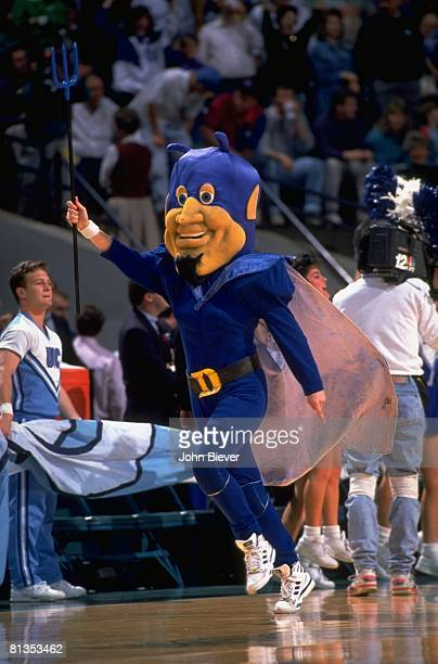 College Basketball ACC Tournament Duke Blue Devils mascot on court during game vs Maryland Charlotte NC 3/14/1992