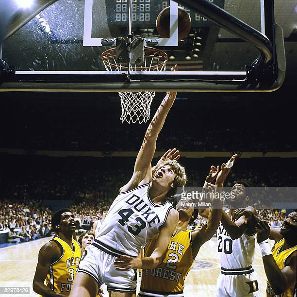 ACC Tournament Duke Mike Gminski in action getting rebound vs Wake Forest Greensboro NC 3/4/1978 CREDIT Manny Millan