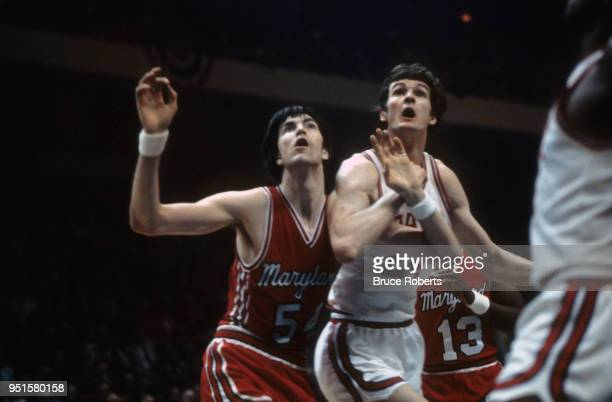 ACC Tournament North Carolina State Tom Burleson in action vs Maryland Tom McMillen during Championship Game at Greensboro Coliseum Greensboro NC...