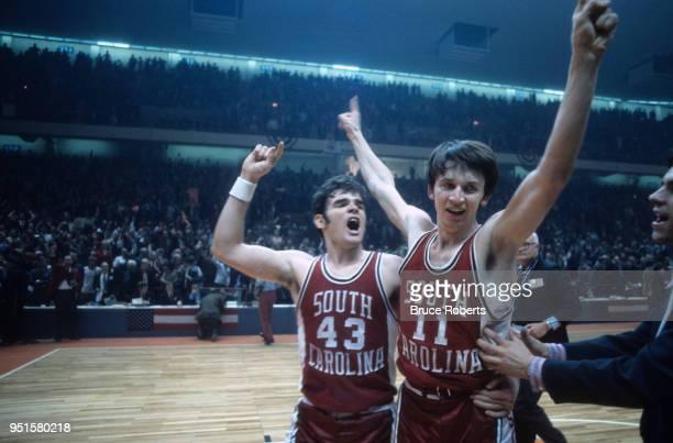 ACC Tournament South Carolina John Roche and Kevin Joyce victorious after winning Championship Game vs North Carolina at Greensboro Coliseum...