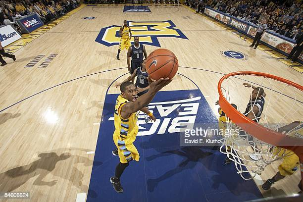 Aerial view of Marquette Jerel McNeal in action, shot vs Georgetown. Milwaukee, WI 1/31/2009 CREDIT: David E. Klutho