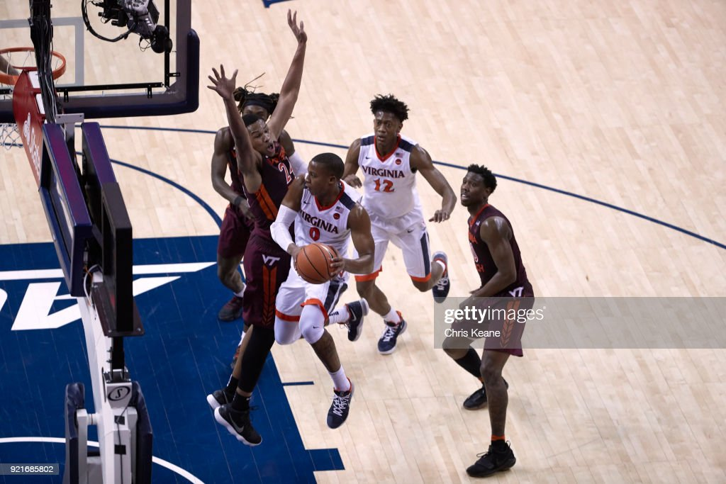 Aerial view of Virginia Devon Hall (0) in action vs Virginia Tech Kerry Blackshear Jr. (24) at John Paul Jones Arena. Chris Keane TK1 )