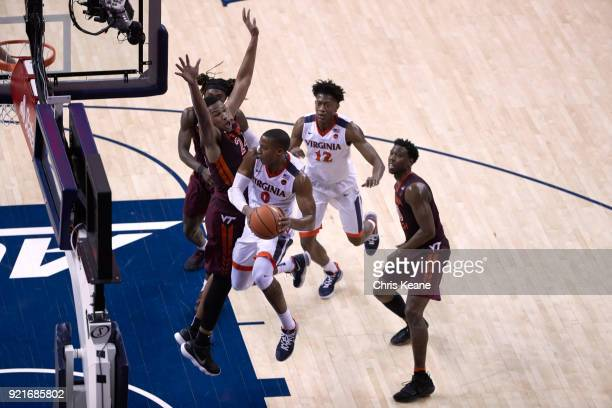Aerial view of Virginia Devon Hall in action vs Virginia Tech Kerry Blackshear Jr at John Paul Jones Arena Charlottesville VA CREDIT Chris Keane