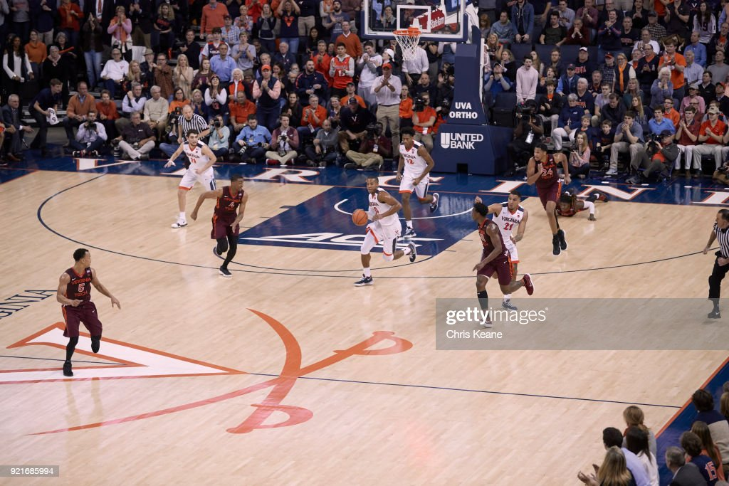 Aerial view of Virginia Devon Hall (0) in action vs Virginia Tech at John Paul Jones Arena. Chris Keane TK1 )