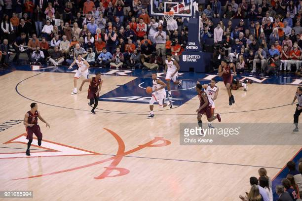 Aerial view of Virginia Devon Hall in action vs Virginia Tech at John Paul Jones Arena Charlottesville VA CREDIT Chris Keane