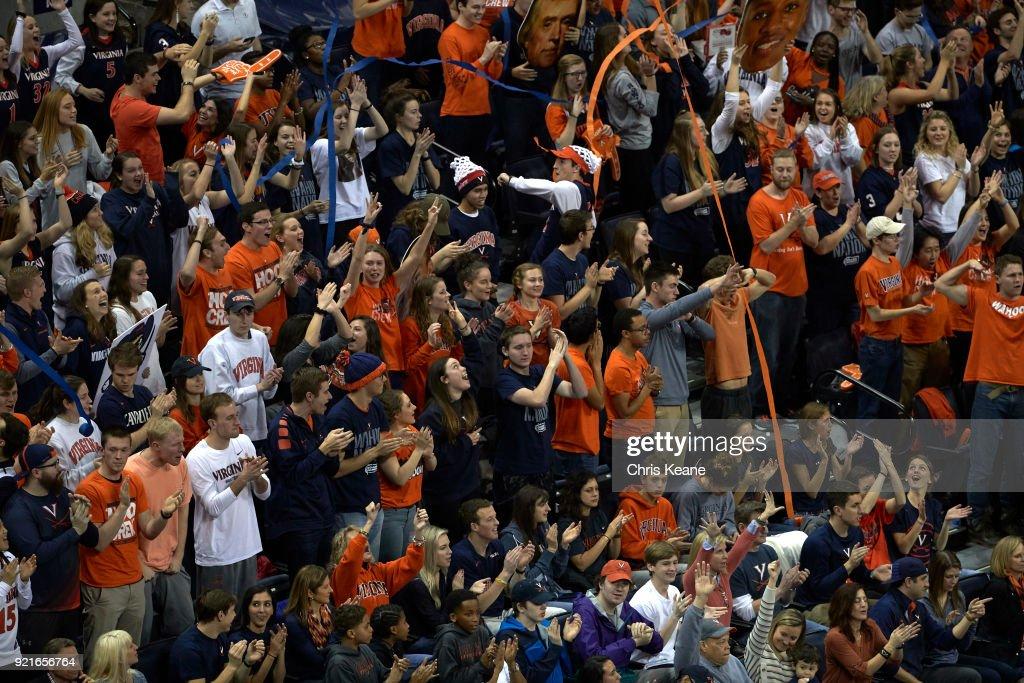 Aerial view of Virginia fans in stands during game vs Virginia Tech at John Paul Jones Arena. Chris Keane TK1 )