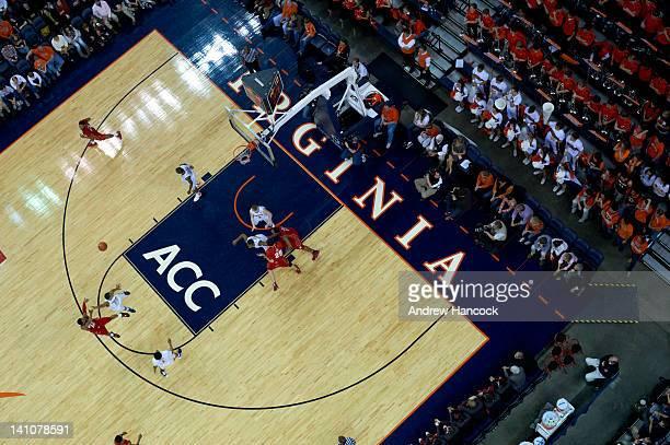Aerial view of Virginia in action vs Maryland at John Paul Jones Arena Packline defense formation Charlottesville VA CREDIT Andrew Hancock