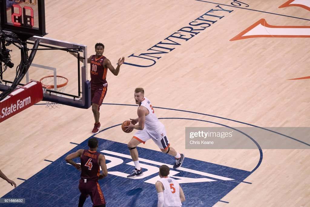 Aerial view of Virginia Jack Salt (33) in action vs Virginia Tech at John Paul Jones Arena. Chris Keane TK1 )