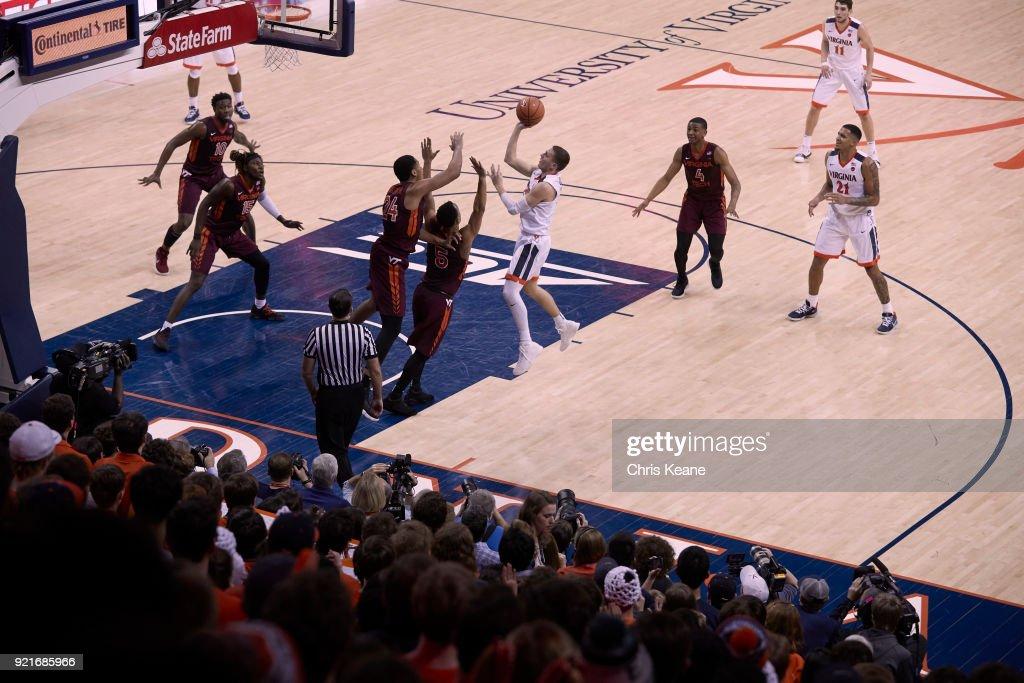 Aerial view of Virginia Kyle Guy (5) in action, shooting vs Virginia Tech at John Paul Jones Arena. Chris Keane TK1 )