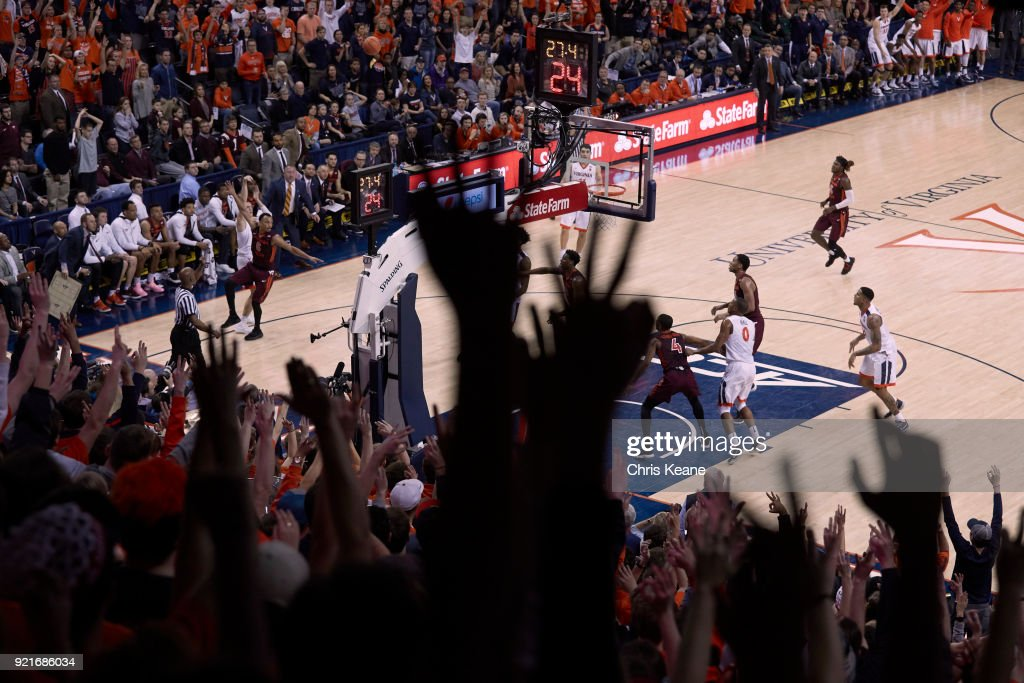 Aerial view of Virginia Kyle Guy (5) in action, shooting vs Virginia Tech at John Paul Jones Arena. Guy shooting from three point range. Sequence. Chris Keane TK1 )