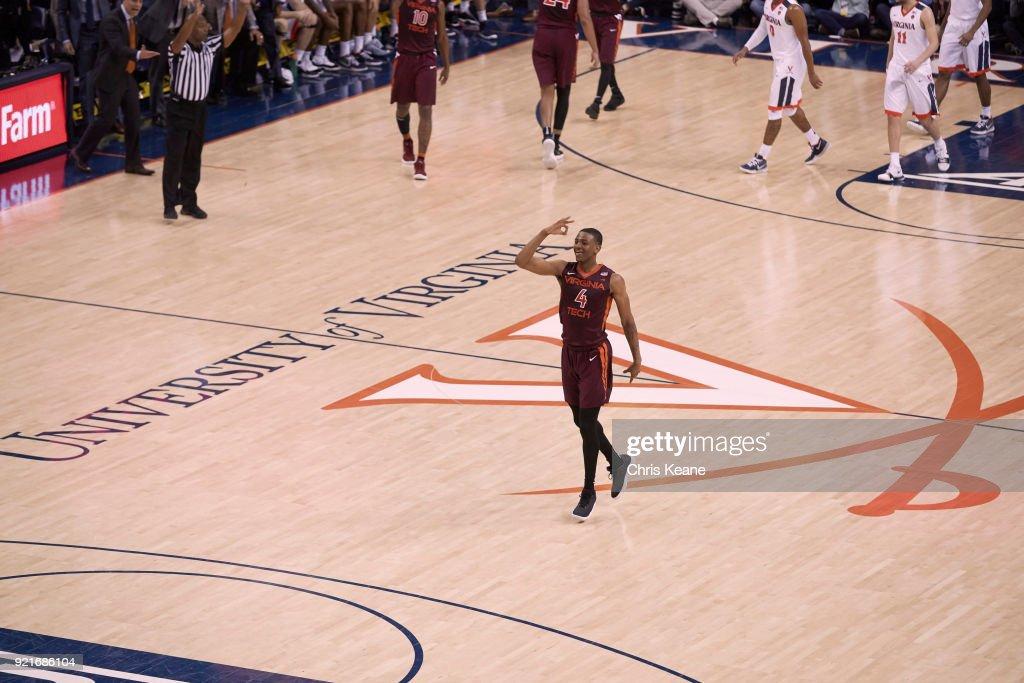 Aerial view of Virginia Tech Nickeil Alexander-Walker (4) victorious during game vs Virginia at John Paul Jones Arena. Chris Keane TK1 )